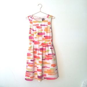 VINCE CAMUTO MULTI COLORED FIT & FLARE DRESS 10 H5